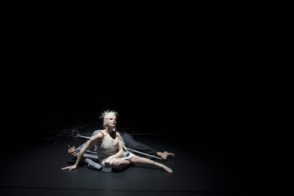 Claire Cunningham and Christopher Owen perform Menage a trois. Claire Cunningham's extraordinary dance piece for the National Theatre of Scotland.