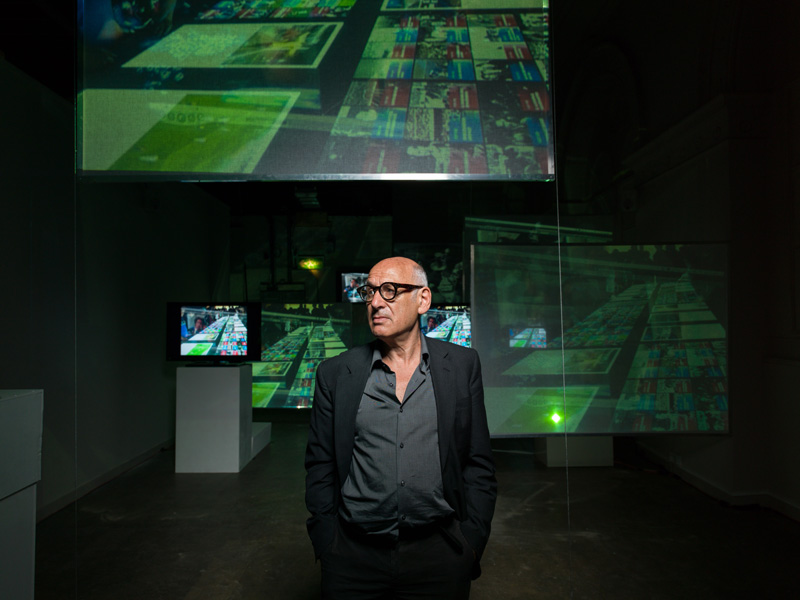 Michael Nyman at Summerhall photographed in his exhibition by Peter Dibdin