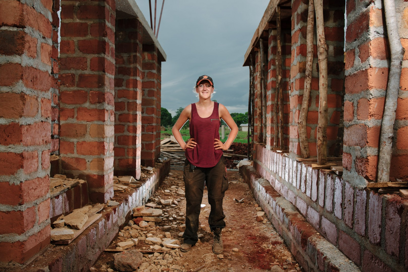 Kirsty Cassels, architect and volunteer with Orkidstudios in the build of the new Swawou School