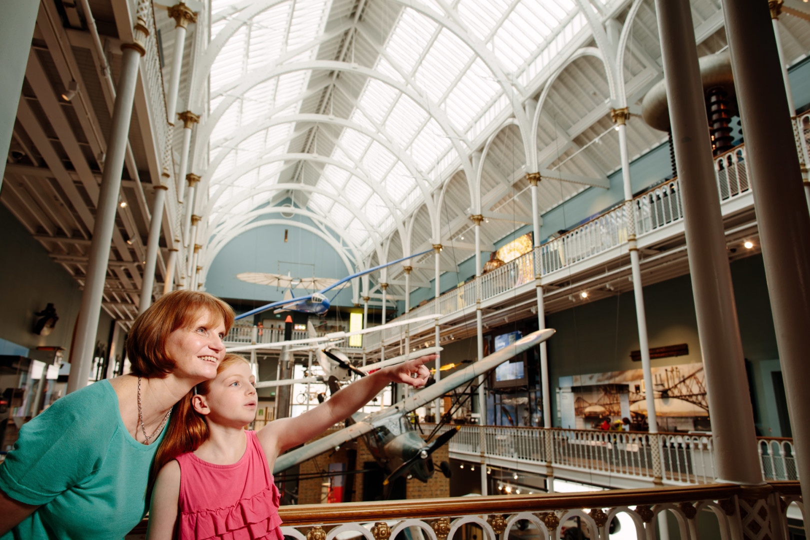 An amazing view of the planes suspended in the atrium