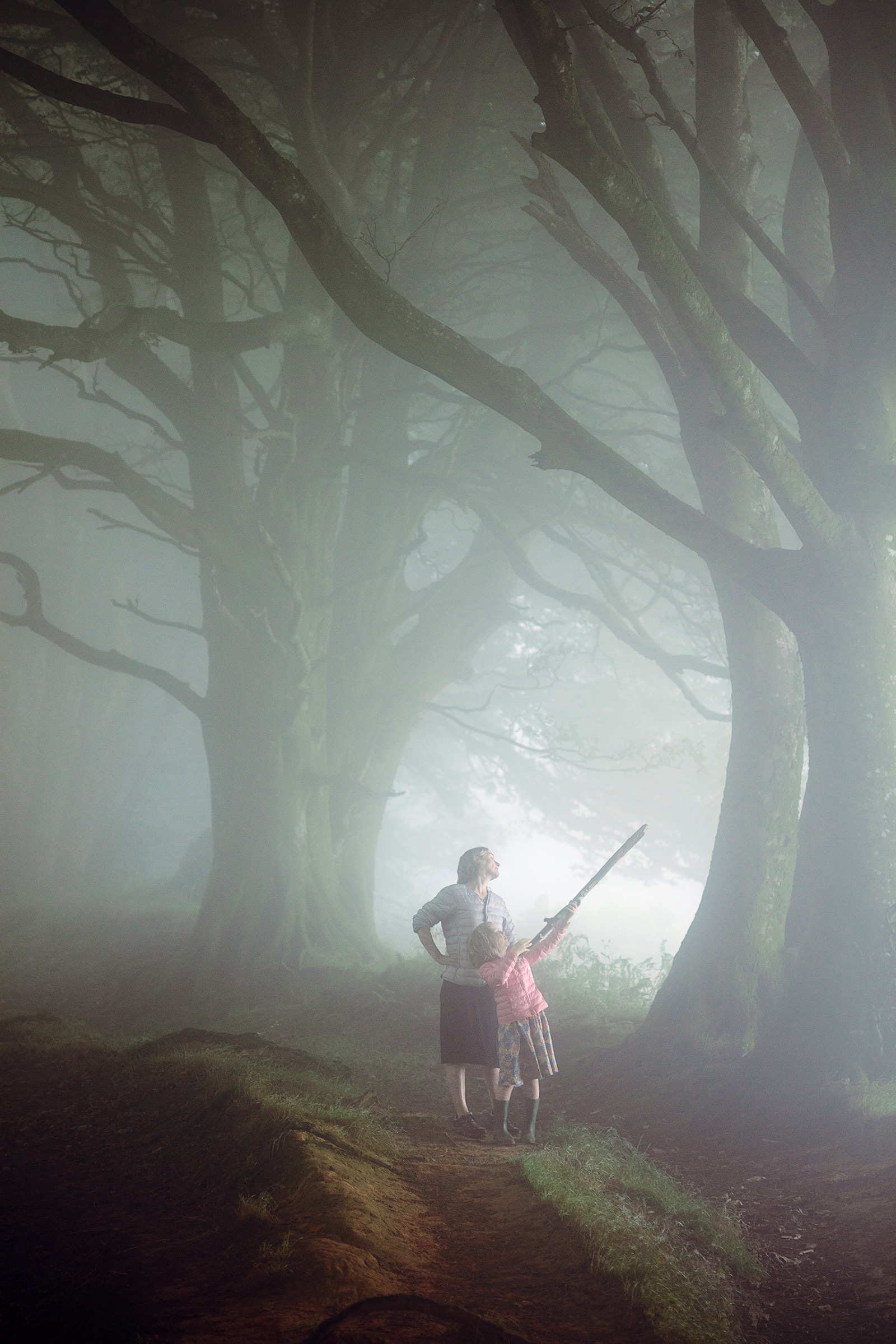 Becky and Suki, playing in the mist