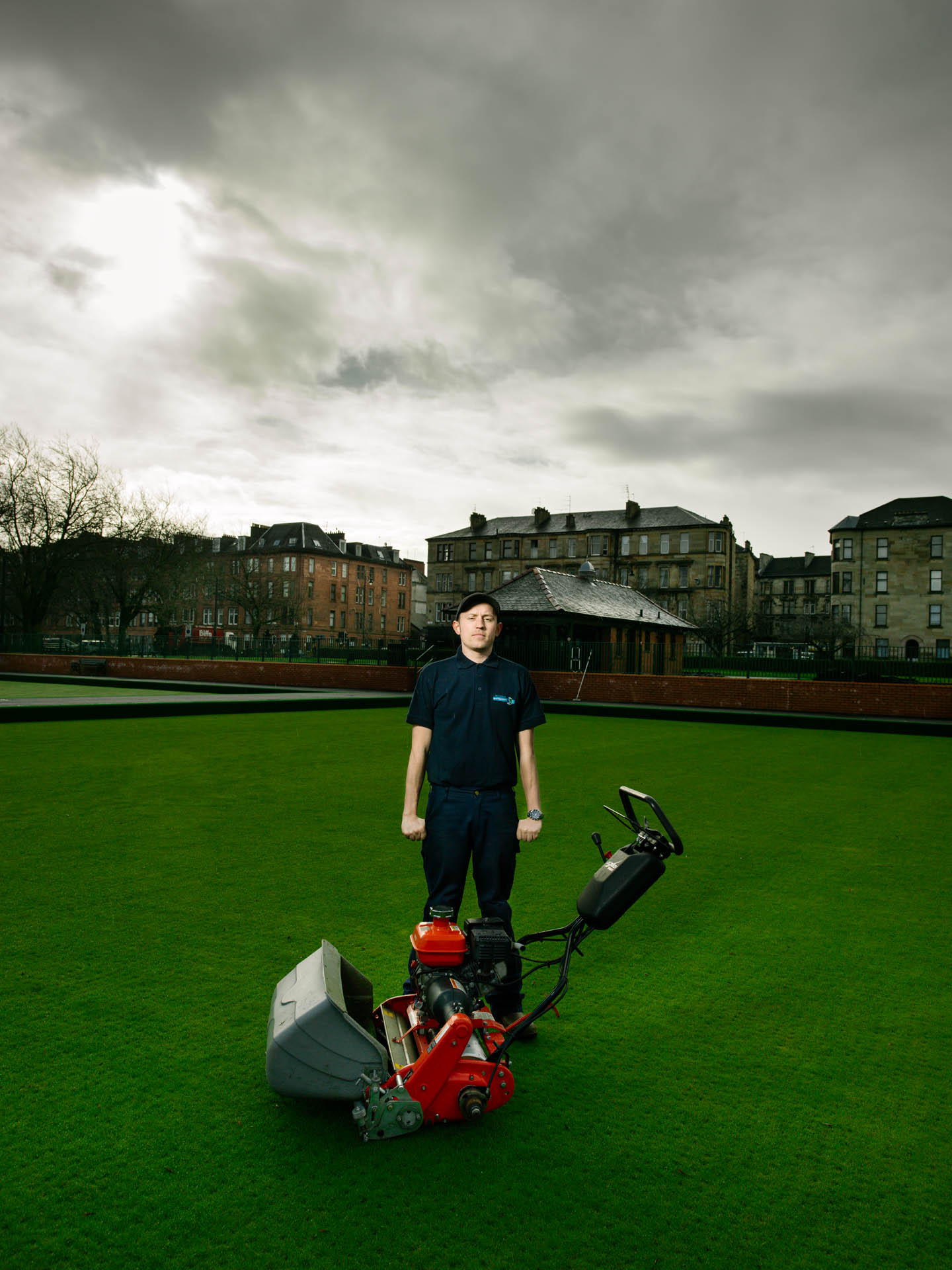 Craig Collins, Green maintenance specialist at the Kelvingrove Bowles Centre, Glasgow. Shot for the GREEN CITY Exhibition at the Lighthouse, Glasgow.
