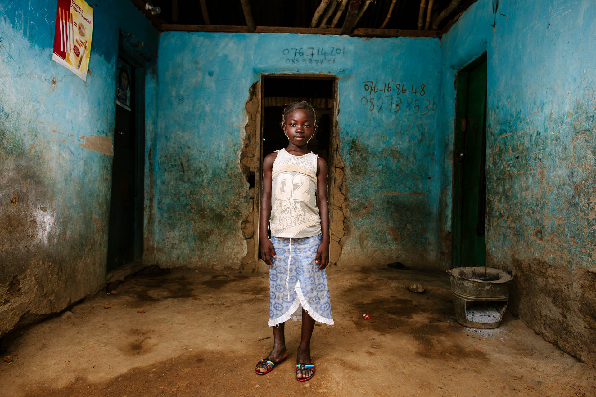 Aminata Sheriff, pupil at Swawou School, Sierra Leone. Commissioned by Swawou School Foundation and Orkidstudio