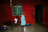 Hawa Soyoh, pupil at Swawou School, Sierra Leone. Commissioned by Swawou School Foundation and Orkidstudio