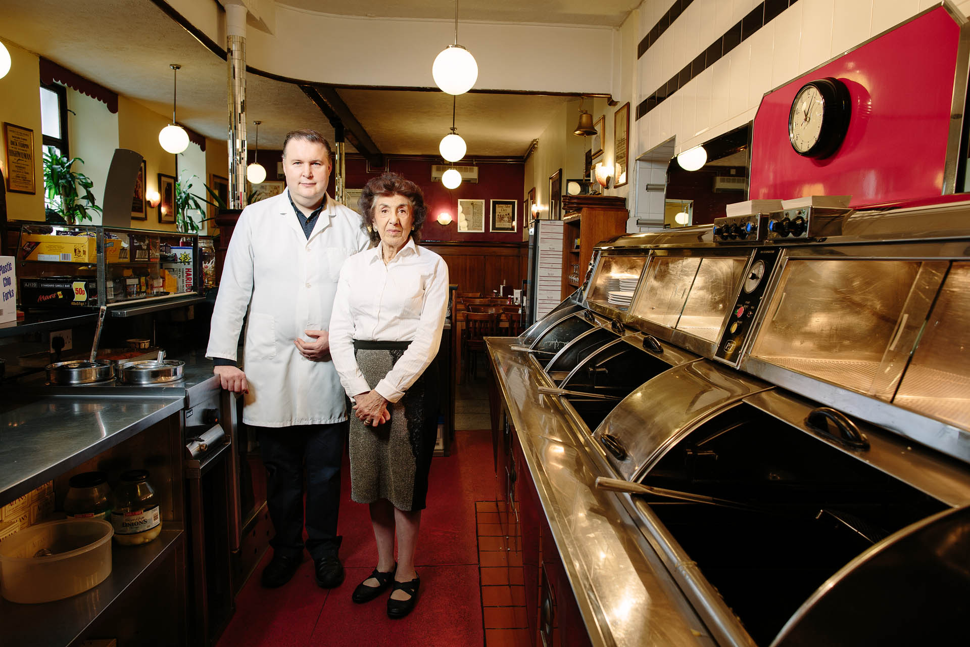 Portrait of Italian chip shop owners, Paisley, part of a series of portraits of different communities commissioned by the National Theatre of Scotland.