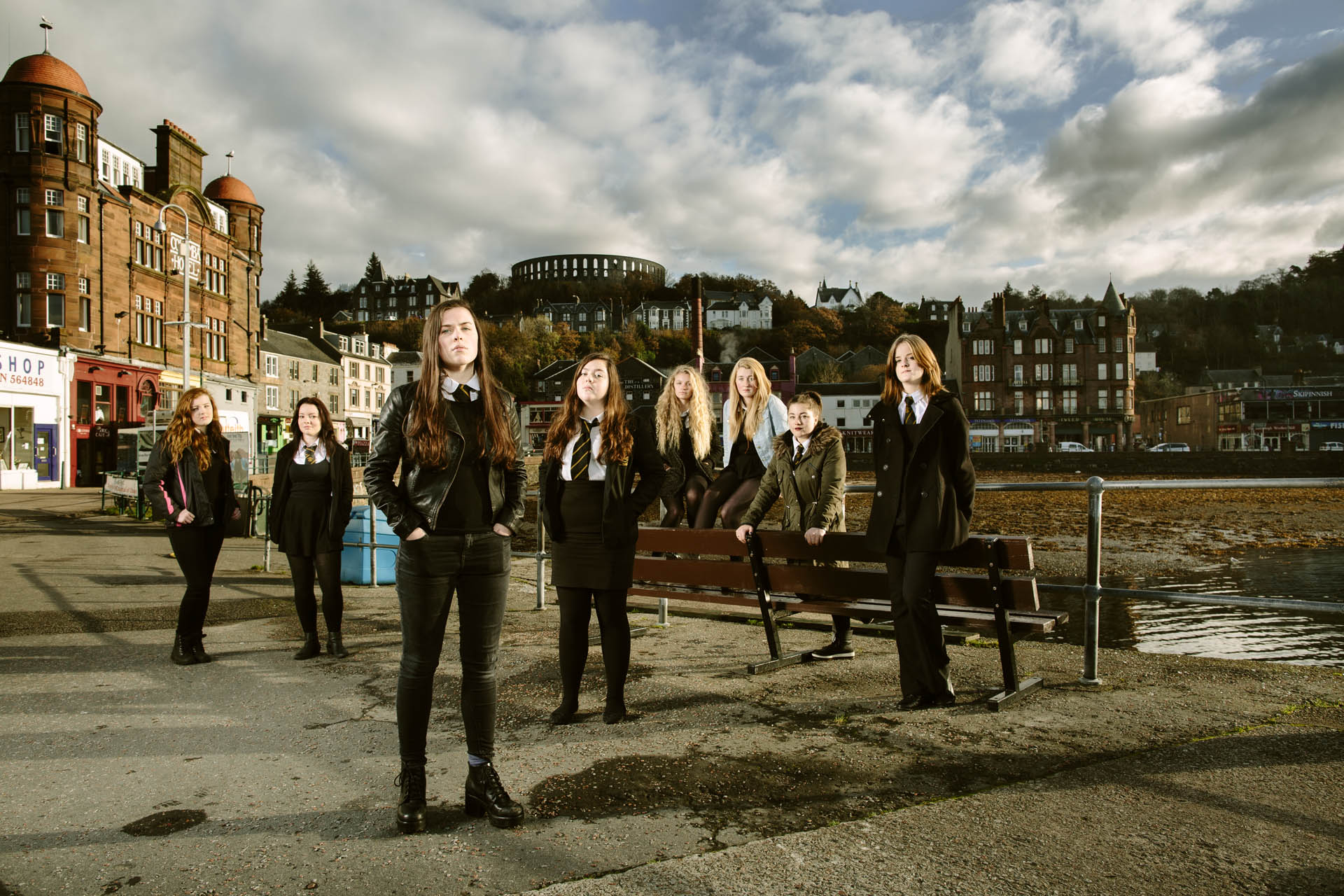 Portrait of school girls at Oben, part of a series of portraits of different communities commissioned by the National Theatre of Scotland.