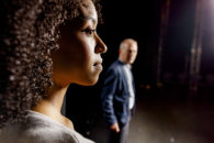 Promotional image of Jade Ogugua and Robert Goodale in Graham Eatough and National Theatre of Scotland's production of How to Act.